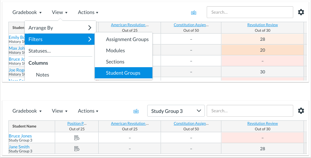 New Gradebook Filter includes a Student Groups option