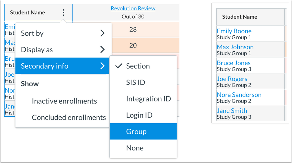 New Gradebook Student Name secondary info display includes Groups option