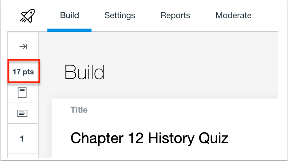 Quizzes.Next point total in the Build page