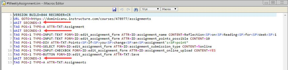 Final version of macro using WAIT commands