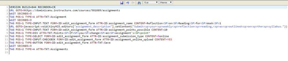 Macro including text editor text