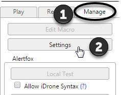 Finding the Manage tab in iMacros