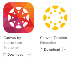 app icons for Canvas Student and Canvas Teacher