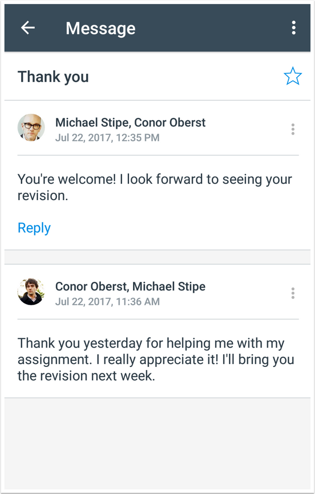 A message from an instructor to a student in the Canvas Teacher app Inbox.