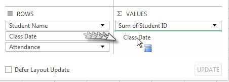 Clicking and dragging the Class Date field over to Values