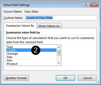 Specifying Count in dialog box