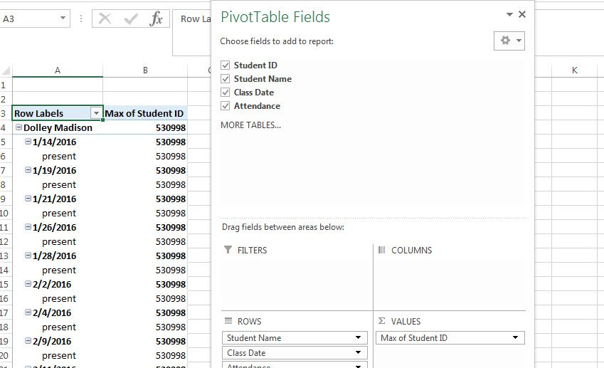 Final results of second pivot table in Excel