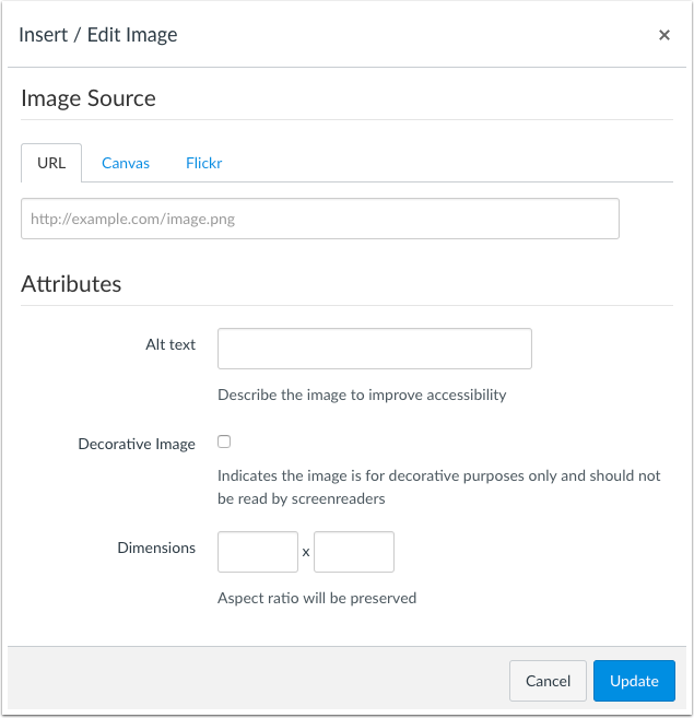 The Rich Content Editor Image window includes a Decorative Image checkbox for images