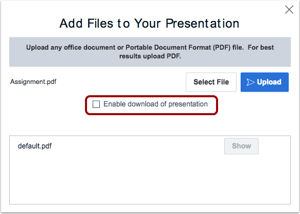 BigBlueButton Conferences Files Upload Window