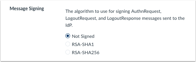authentication option for SAML for message signing