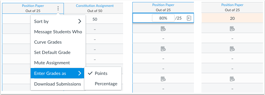 New Gradebook Enter Grades as Point Value