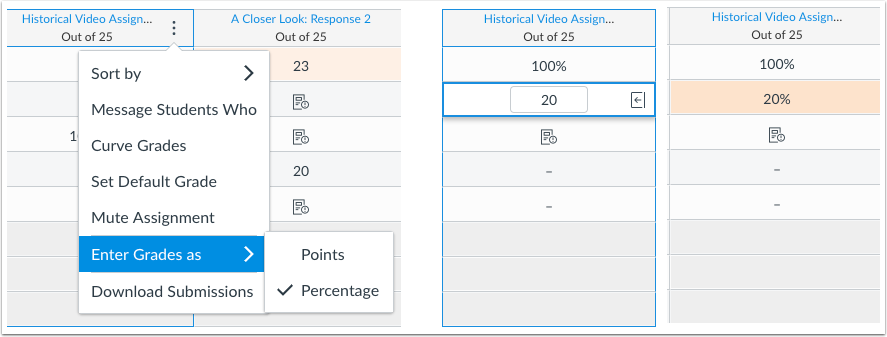 New Gradebook Enter Grades as Percentage