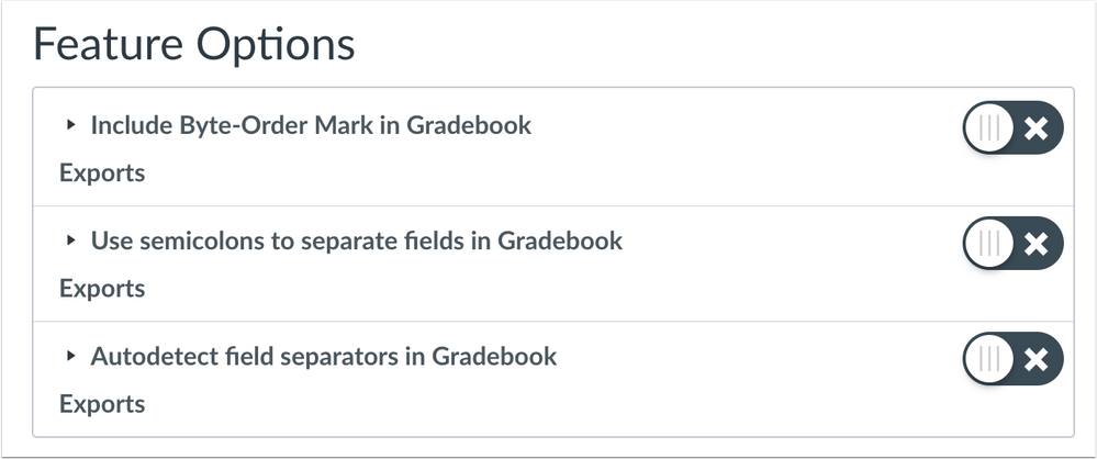 User Feature Options for Gradebook CSV Separator Preferences