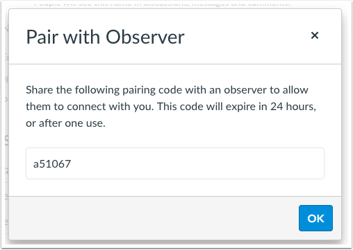 Pairing code for a observer