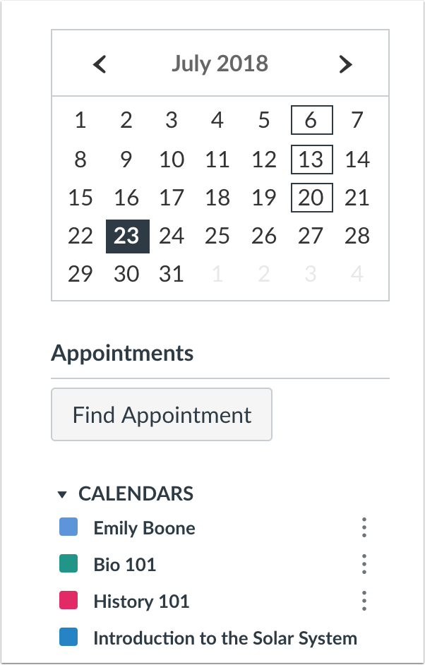 Scheduler Calendar Student Appointments Button