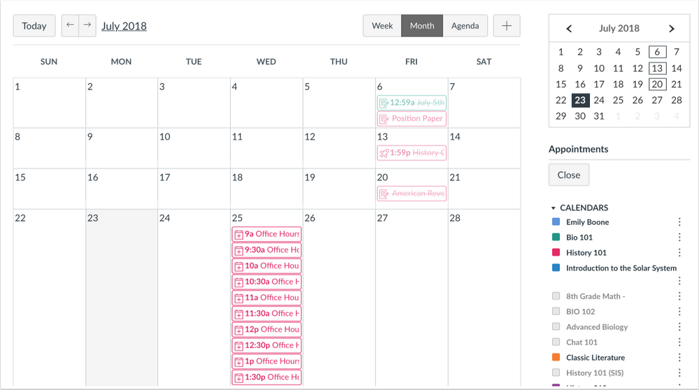 Scheduler Calendar Student View All Appointments