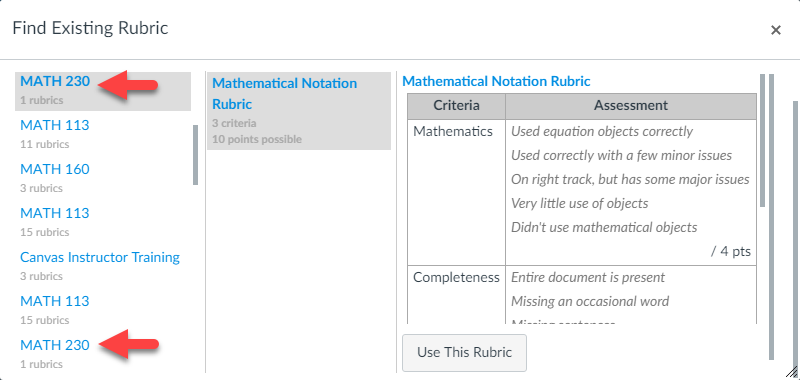 Find Rubric Example