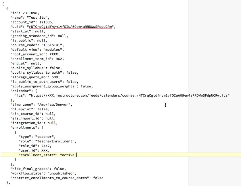 Canvas API Interface displaying only the first of the Test Courses on my user account