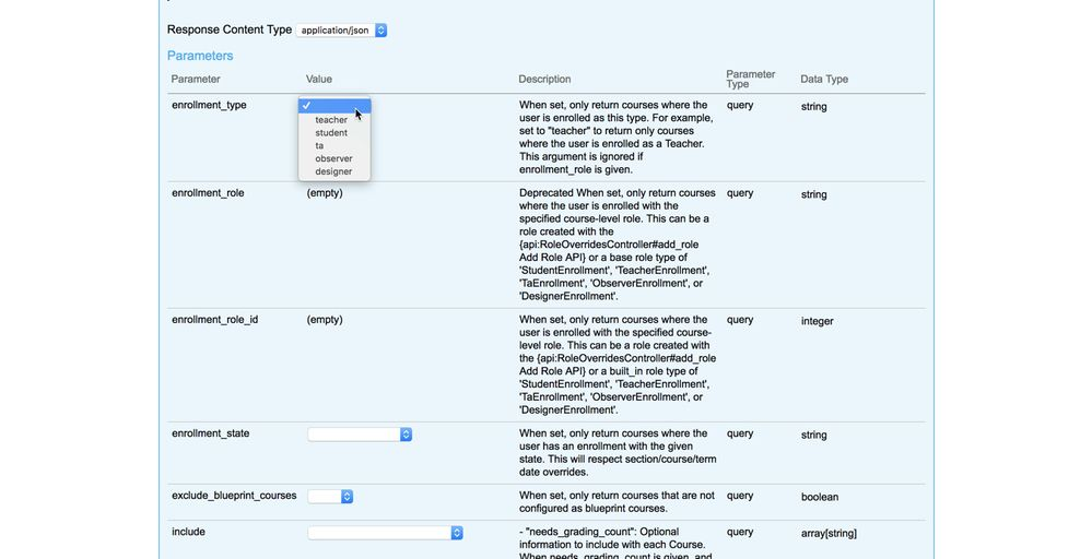 Screenshot of the Canvas Live API with Courses functions for sending data displayed