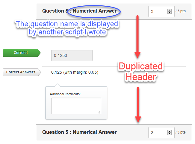 Duplicating Question Header