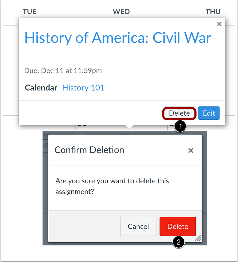 Assignment deletion confirmation button color change from the Calendar