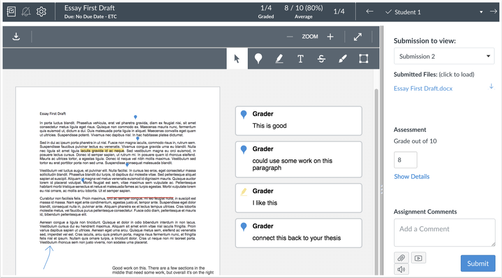 Instructor view of anonymous comments in DocViewer with anonymous grading enabled