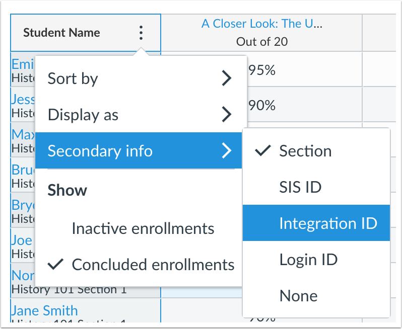The Secondary ID menu in the New Gradebook filters by Integration ID