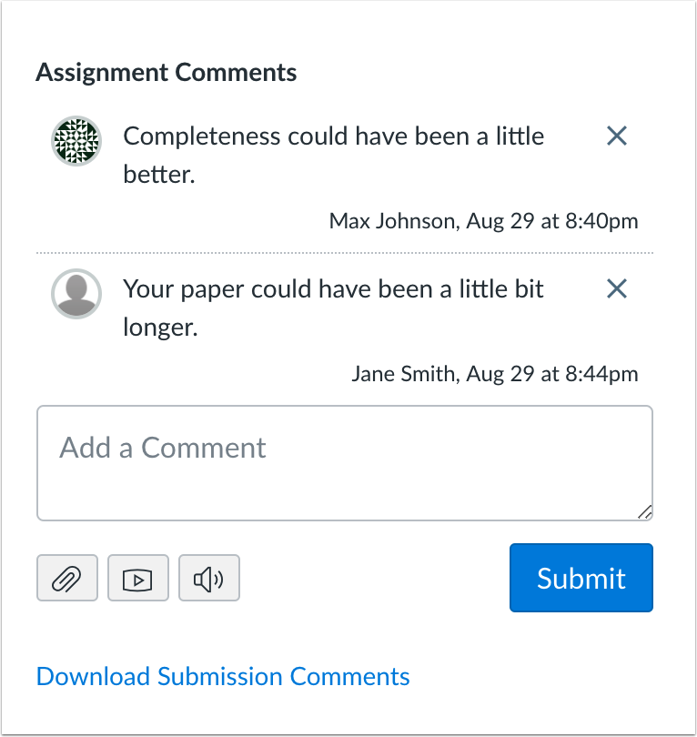 Instructors can download all submission comments in SpeedGrader from non-anonymous submissions