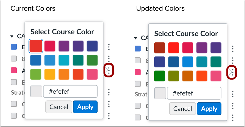 The default course color hex values have a 3_1 ratio
