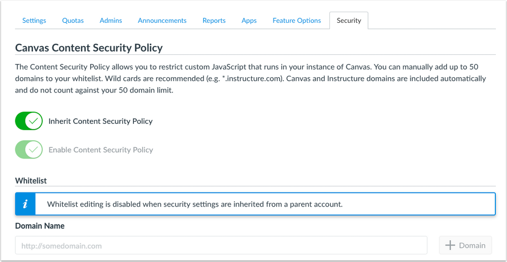 Subdomain page for content security policy