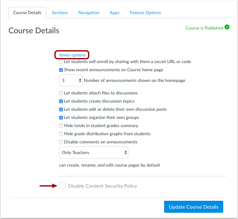 Course Settings Content Security Policy Checkbox managed by Admins