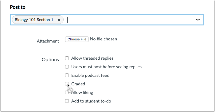 Discussions Selection Selection with Grading checkbox unavailable
