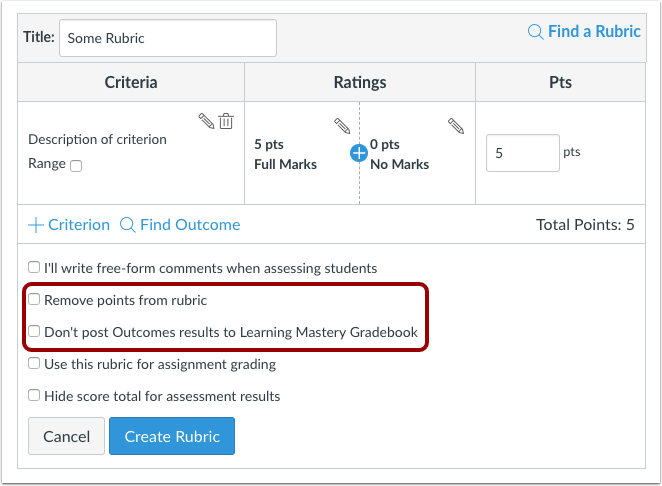 Assignment Rubrics options to remove points and not post results to learning mastery gradebook