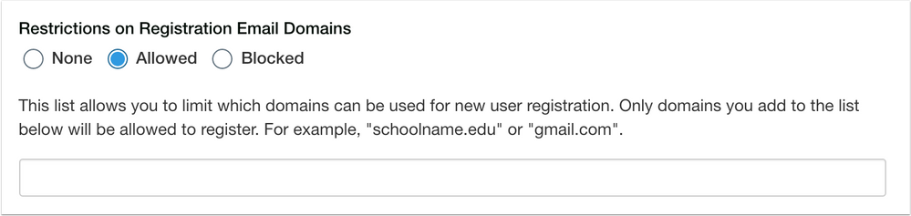 Catalog Restrictions on Registration Email Domains Allowed Option with Domain Field