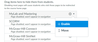 enabling a navigation item in canvas course settings