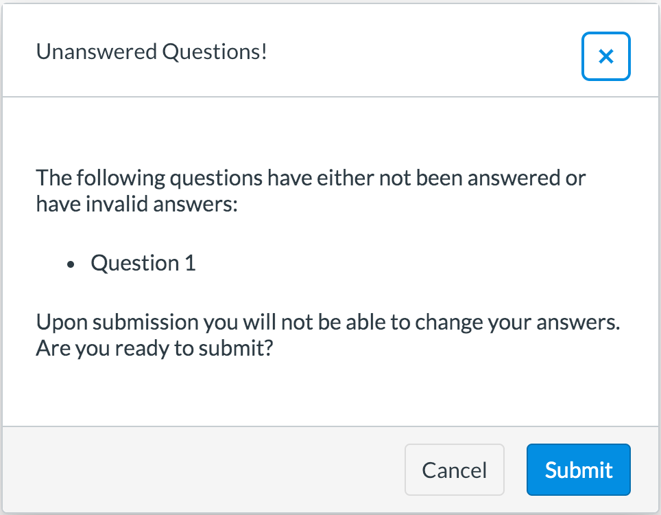 Invalid answer warning for students