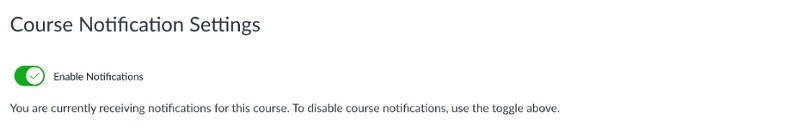 Course Notifications Settings