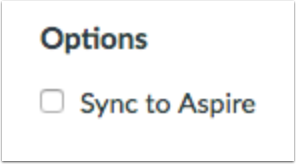 Sync to Aspire Option