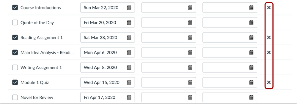 Edit Assignment Dates page with Remove Icons
