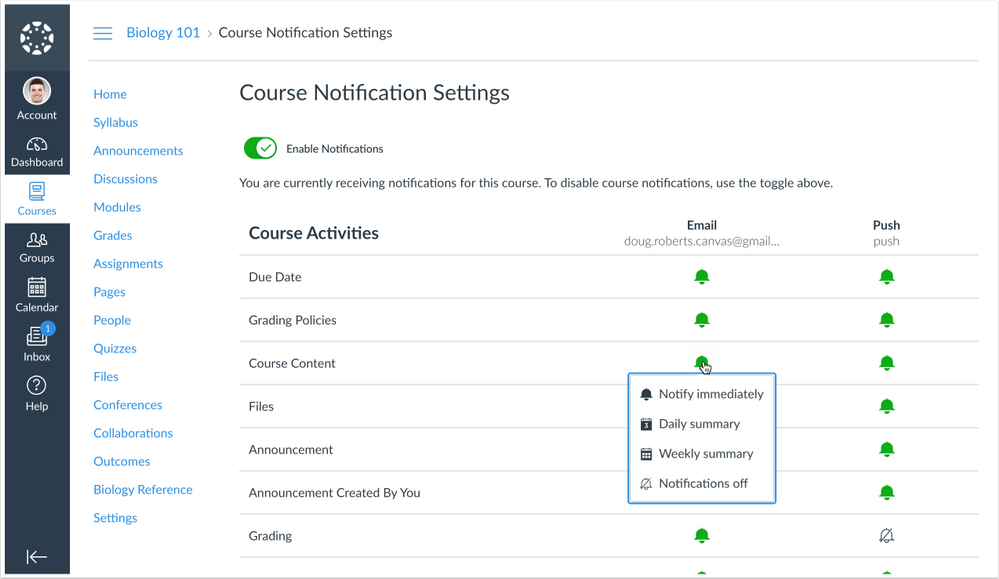 Course Notification Settings Page