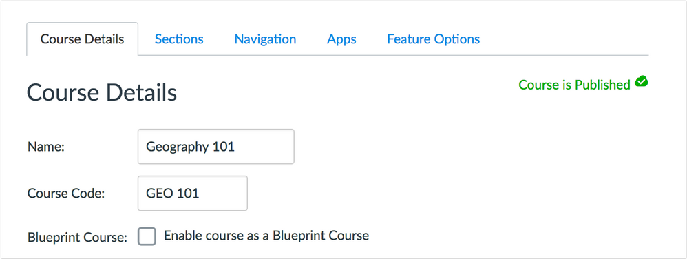 Blueprint Course checkbox in the Course Settings page