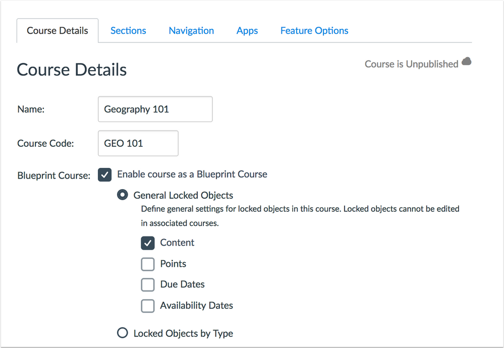 Blueprint Course Details page general settings option
