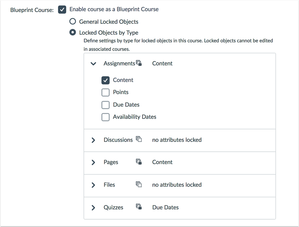 Blueprint Course Details page locked settings by type option
