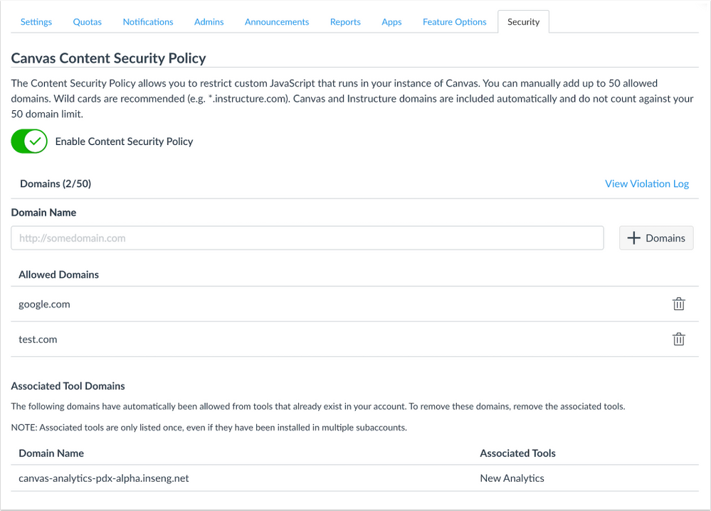 Content Security Policy Account Page