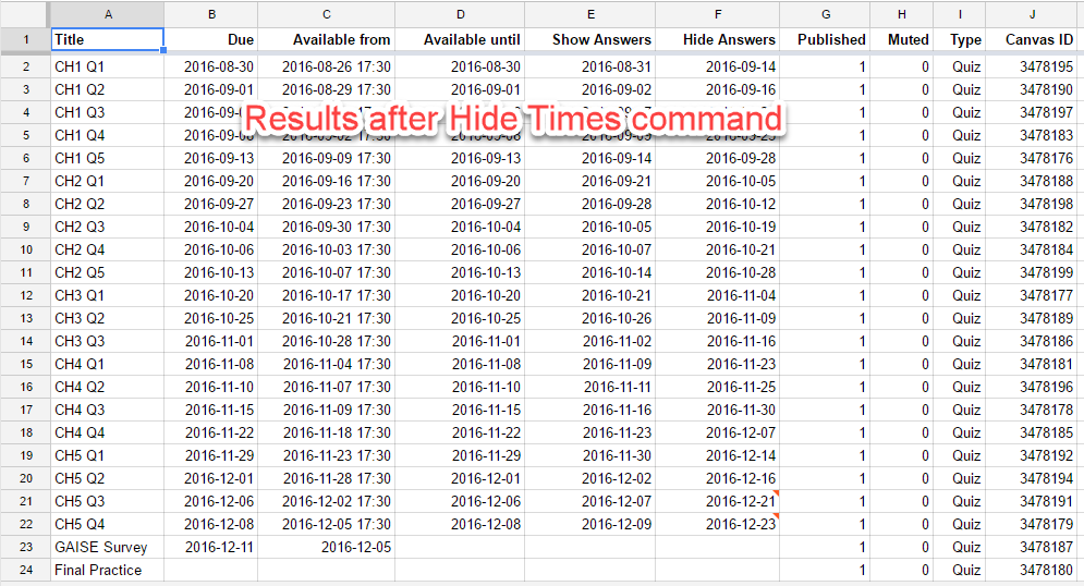 Spreadsheet Hide Times Command