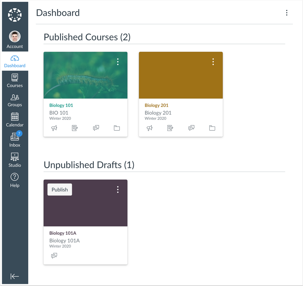 Dashboard showing unpublished courses