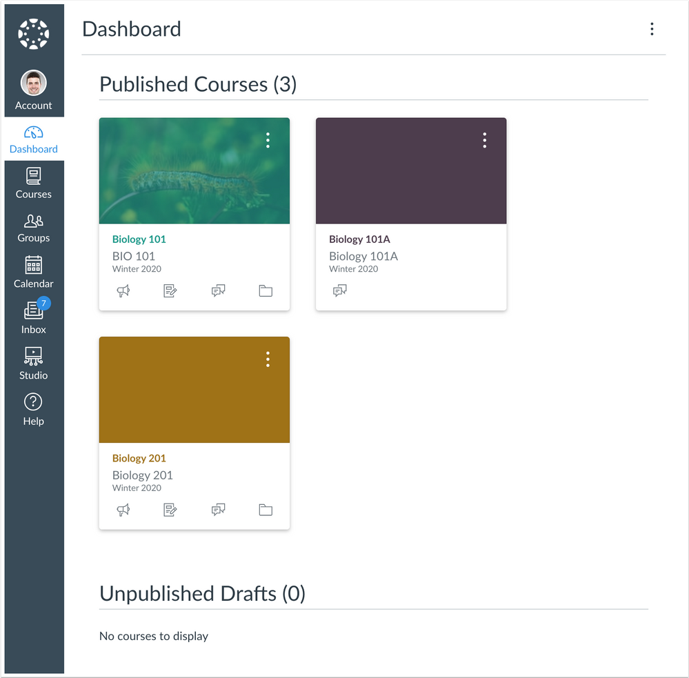 Dashboard with all published courses