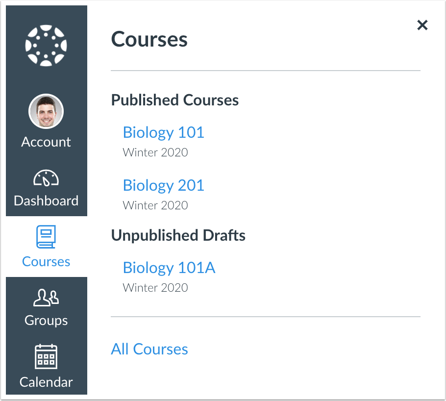 Courses Menu showing unpublished courses