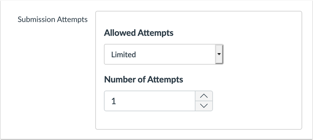 Submissions attempts option in assignment creation page