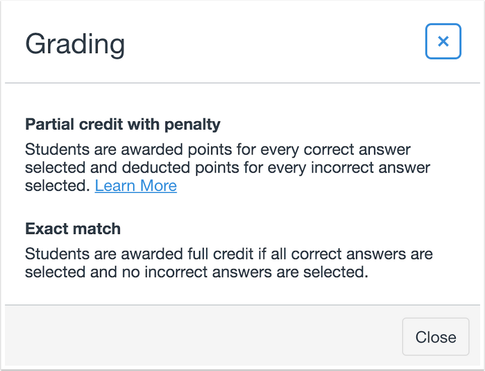 Grading explanations for partial credit and exact match